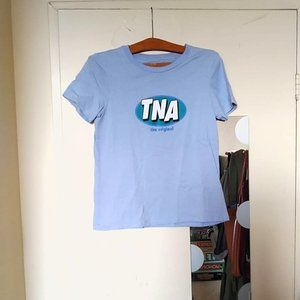 Aritzia TNA Light Blue Logo Graphic Tee
